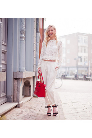 red Guess bag - white Zara blouse - white H&M pants