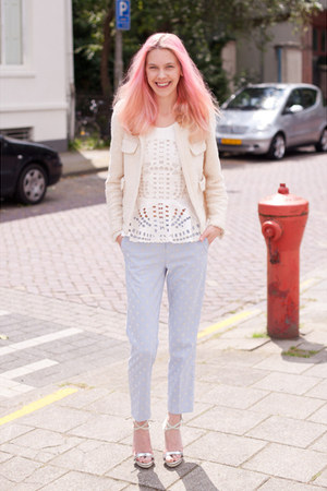 white H&M Trend top - ivory Zara blazer - light blue Topshop pants