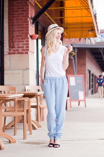 ivory Joes Jeans hat - sky blue Joes Jeans pants - white Joes Jeans t-shirt