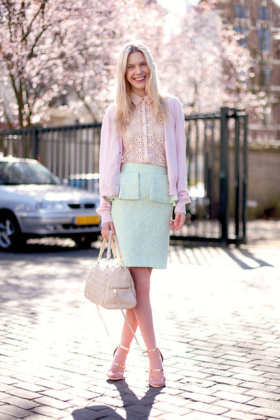 aquamarine Zara skirt - off white Rebecca Minkoff bag - pink asos socks