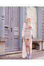 Periwinkle-topshop-dress-ivory-zara-vest-violet-miista-heels