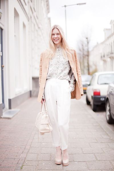 beige Finsk pumps - bronze Lucette blazer - off white Rebecca Minkoff bag