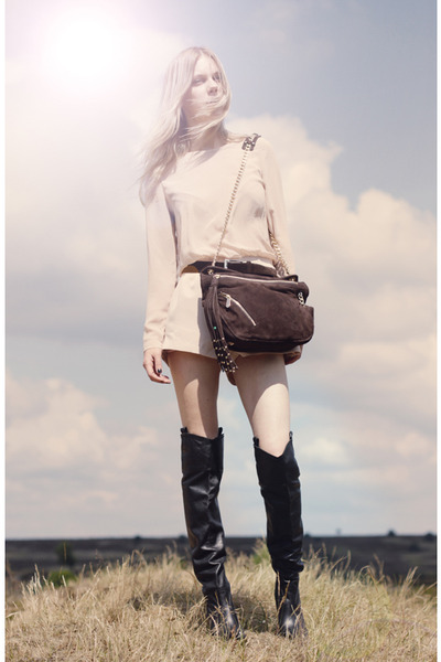 brown botkier bag - black Zara boots - beige StylebyMarina shorts
