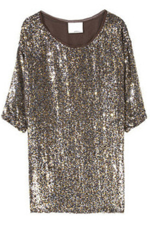 gray dress - brown - gold - silver - purple