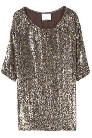 gray dress - brown - gold - silver - purple