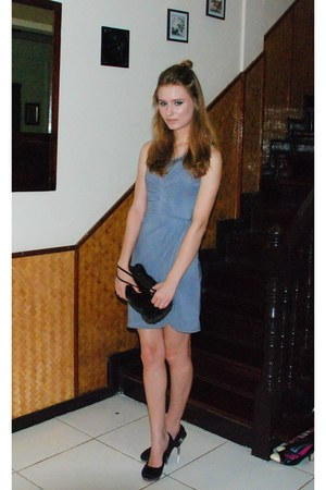 Athena dress - faux fur bag - The Gallery heels