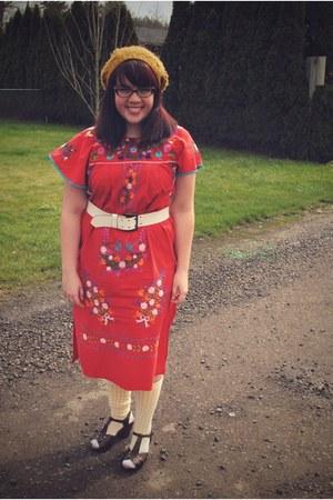 red mexican vintage from Ebay dress - light yellow Sock Dreams socks - dark brow