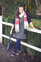 gray cardigan - gray dress - red shoes - blue purse - blue tights - white scarf