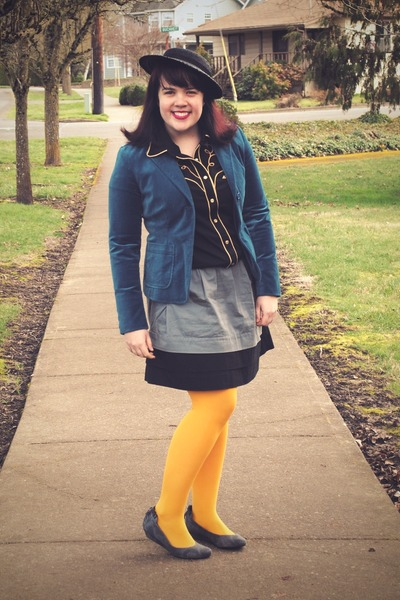 blue Gap blazer - black western thrifted shirt - gold HUE tights - heather gray 