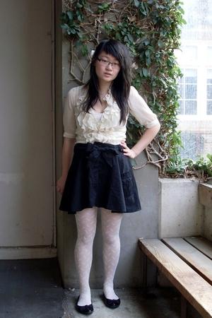 Dotti blouse - warehouse skirt - YSL stockings