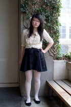 Dotti blouse - warehouse skirt - YSL stockings