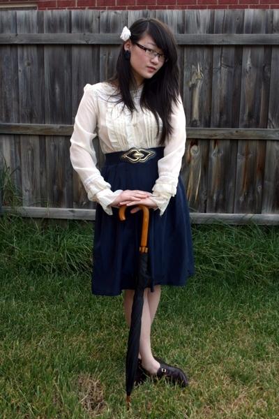 white Living Doll blouse - blue vintage skirt - blue vintage belt - brown vintag