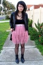 Friends of Couture skirt - bardot jacket - tosca purse - Inniu boots - Dangerfie