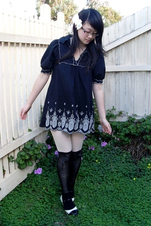 black Friends of Couture dress - black Living Doll socks - beige stockings - bei