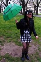 Living Doll jacket - muui skirt - Kmart stockings - Lola Brown boots - diva neck