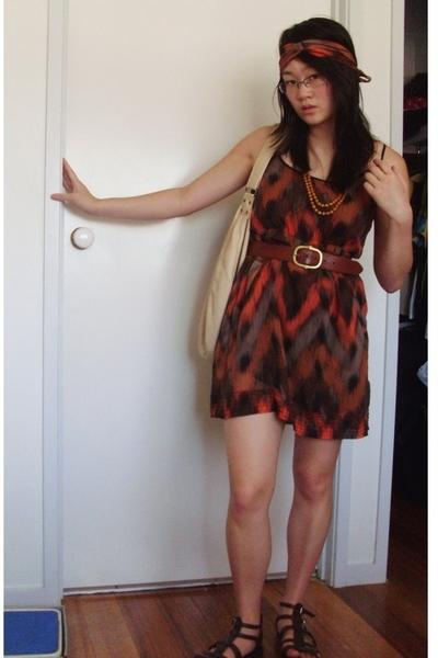cotton on dress - belt - GRAB denim purse - Big W shoes - accessories