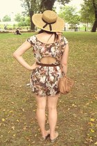 brown floral Glassons romper - light yellow straw hat hat - camel Wittner bag