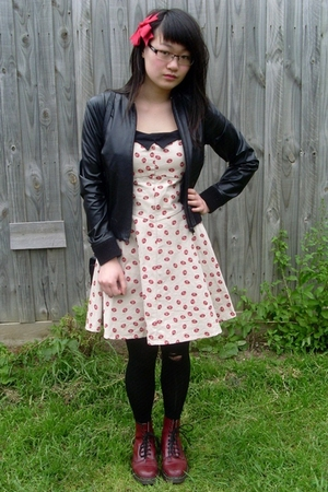 black thrifted bardot jacket - red thrifted Dr Martens boots