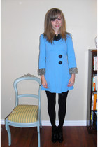 blue vintage dress - black tights - black Zara boots