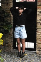 studded Eurosko boots - vintage shorts - vintage top