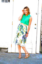 floral print BB Dakota skirt - American Apparel belt - Urban Outfitters top