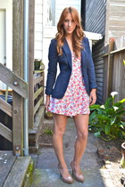 navy blazer - bubble gum floral print Urban Outfitters romper - nude patent leat