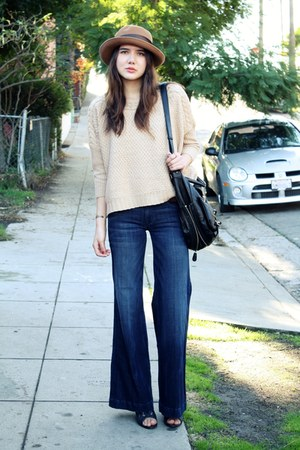 beige asos sweater - blue Hudson jeans - camel vintage hat - black melie bianco 