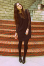Black-graham-and-spencer-dress-black-vintage-top-black-banana-republic-shoes