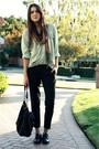 Vintage-top-vintage-scarf-bebe-pants-jigsaw-purse-via-spiga-shoes