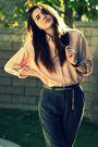 Pink-vintage-blouse-gray-vintage-pants-green-vintage-belt-beige-seychelles