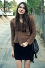 Blue-modcloth-skirt-brown-storets-sweater-black-vintage-boots-black-melie-