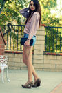 Purple-vintage-blouse-blue-diy-shorts-beige-seychelles-shoes-black-chanel-