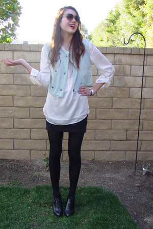 white H&M blouse - black banana republic shoes - brown Forever 21 sunglasses