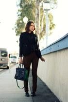 blue botkier bag - black Via Spiga shoes - black calvin klein jacket