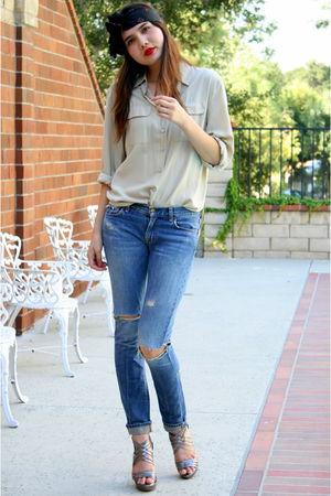 beige vintage top - beige Kelsi Dagger shoes - blue Seven For All Mankind jeans