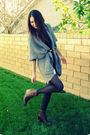 Gray-forever-21-sweater-black-akira-dress-brown-vintage-belt-brown-stuart-