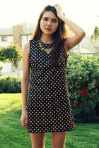 brown Ramona West Vintage dress - gold modcloth necklace - black Salvatore Ferra