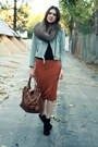 Burnt-orange-asos-skirt-light-blue-gap-jacket-black-bebe-sweater-black-kat
