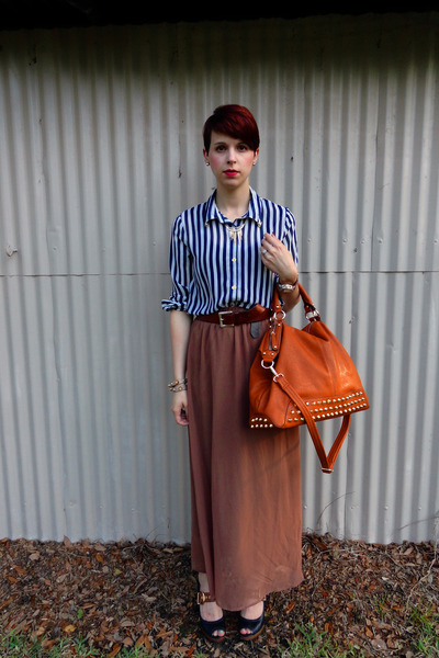 navy chiffon Forever 21 shirt - tawny bag - brown Forever 21 skirt