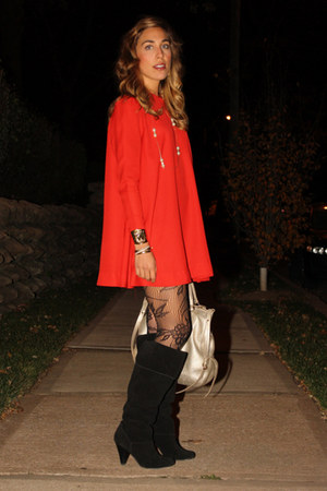 black Report boots - red swing minidress vintage dress - black lace tights Forev