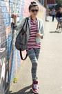 Black-patterned-diy-leggings-white-striped-dazzling-blazer