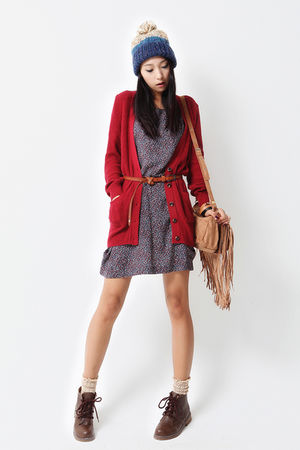 cardigan - dress - - socks - shoes
