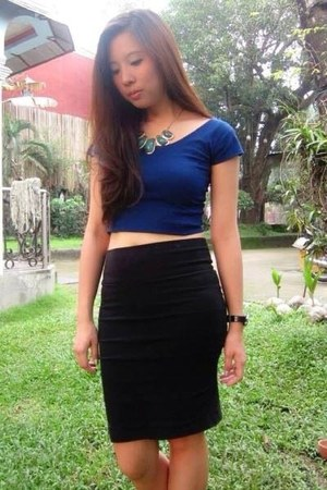black skirt - navy top