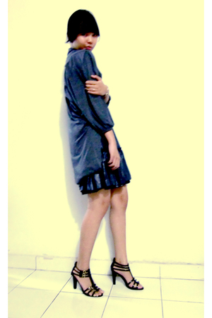 silver dress - gray cardigan - black shoes