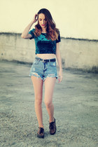 cropped & denim shorts