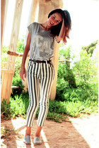 silver Primark t-shirt - charcoal gray striped capri choiescom pants