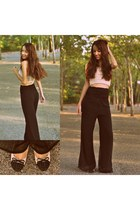 black VJ Style pants - cream Zara top - cream sam edelman flats