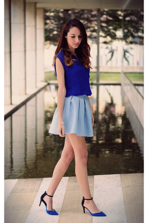 blue blouse Bershka blouse - sky blue skirt Bershka skirt