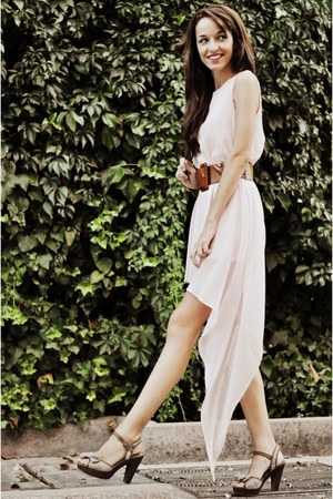 light pink asymmetrical OASAP dress - bronze xti heels