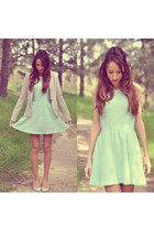 aquamarine H&M dress - periwinkle Stradivarius blazer